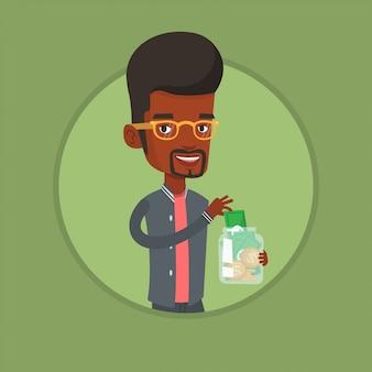 Homem de negócios, colocando o dólar em caixa de dinheiro.
