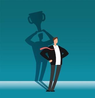 Homem de negócios com a sombra do vencedor que guarda o copo do troféu. liderança, realização e conceito de vetor de desafio de negócios