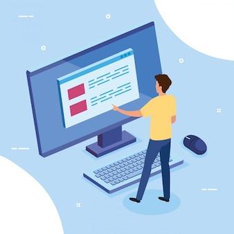 Homem de negócios com computador desktop