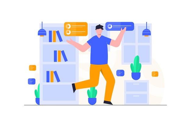 Homem de negócios com design de ilustração plana de biblioteca