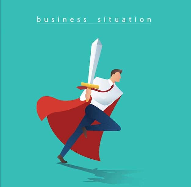 Homem de negócios com espada e capa vermelha