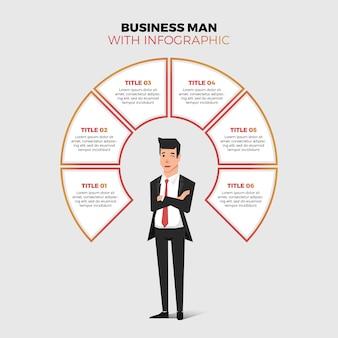Homem de negócios com infográfico