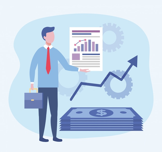 Homem de negócios com informações de documento de barra de estatísticas