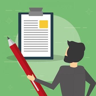 Homem de negócios com lápis e relatório, estilo simples