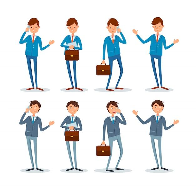 Homem de negócios com maleta conjunto de poses, emoções