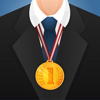 Homem de negócios com medalha