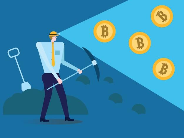 Homem de negócios com pá e picareta que trabalha no bitcoin meu.