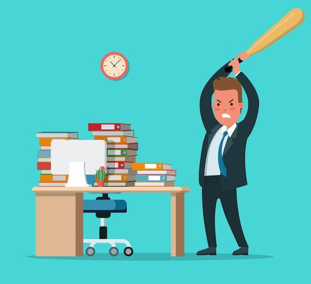 Homem de negócios com raiva de estilo simples batendo no local de trabalho com ilustração vetorial de taco de beisebol homem quebrando