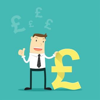 Homem de negócios com símbolo de moeda da libra britânica.