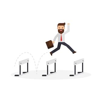 Homem de negócios com sucesso de bandeira saltar sobre obstáculos