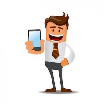 Homem de negócios com um celular