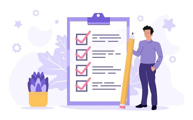 Homem de negócios com um lápis uma lista de verificação marcada em um papel da prancheta. formação bem-sucedida de tarefas de negócios. ilustração plana.