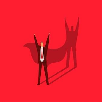 Homem de negócios com uma sombra de uma ilustração do conceito dos desenhos animados do vetor do super-herói isolada no fundo vermelho.