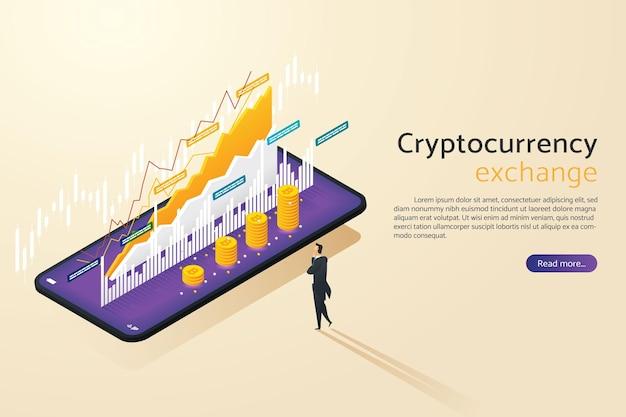 Homem de negócios compra e vende bitcoin no telefone celular inteligente com investimento em criptomoeda online