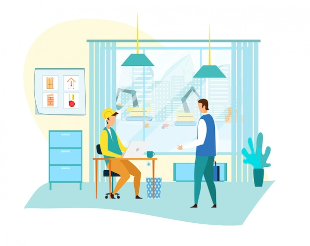 Homem de negócios, comunicando-se com o capataz no escritório