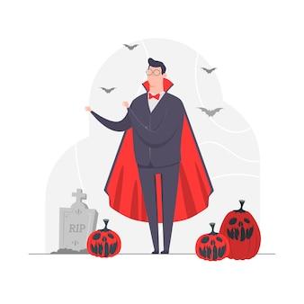 Homem de negócios conceito de personagem ilustração vampiro halloween morcego assustador abóbora cemitério