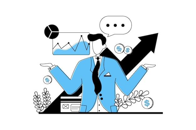 Homem de negócios confuso com dados e gráfico