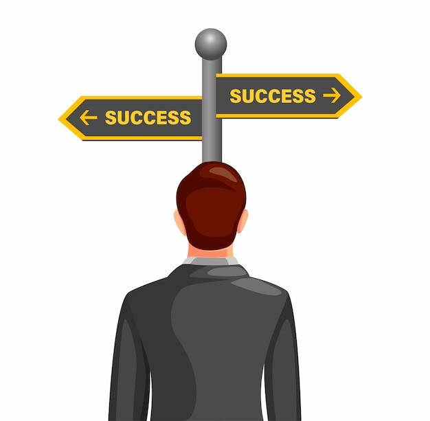 Homem de negócios confuso escolhendo o caminho para o sucesso com placa de rua