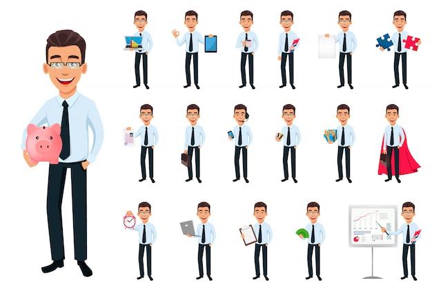 Homem de negócios, conjunto de dezoito poses