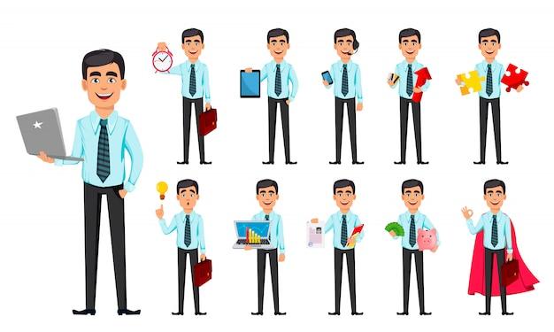 Homem de negócios, conjunto de onze poses