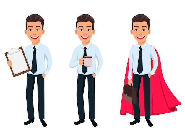 Homem de negócios, conjunto de três poses