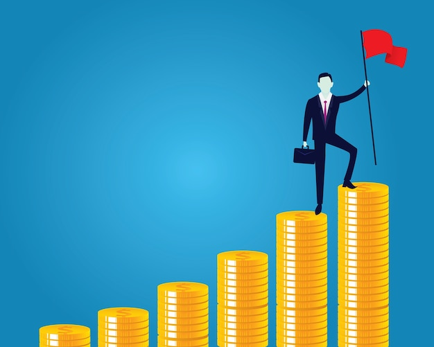 Homem de negócios conquistou obstáculo, escalando escadas de dinheiro