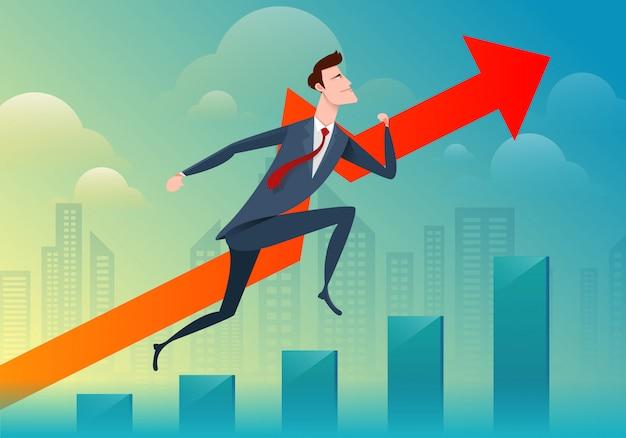 Homem de negócios, correr e saltar passar o gráfico