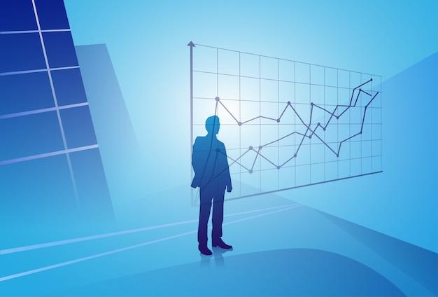 Homem de negócios da silhueta que olha o gráfico da finança, homem de negócio que analisa o conceito dos resultados