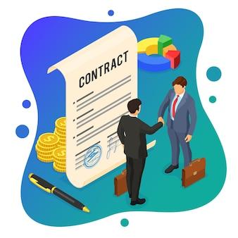 Homem de negócios de aperto de mão depois de negociar um acordo de sucesso.
