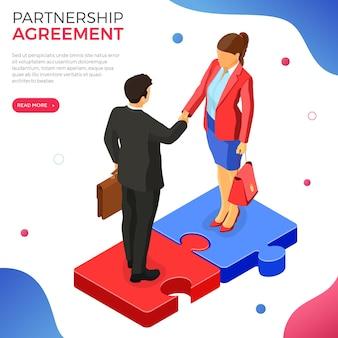 Homem de negócios de aperto de mão e mulher depois de negociar um acordo de sucesso. parceria inicial para atingir objetivos. trabalho em equipe.