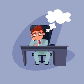 Homem de negócios de desenho animado em elegante terno sentado no pensamento de mesa de escritório