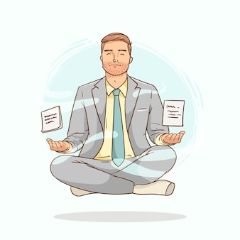 Homem de negócios de desenho animado meditando