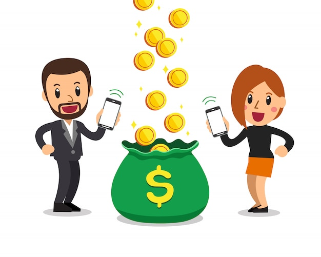 Homem de negócios de desenhos animados e mulher ganhando dinheiro com smartphone