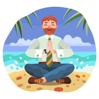 Homem de negócios de design plano meditando