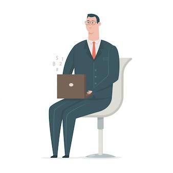 Homem de negócios de fato trabalhando no laptop e sentado na cadeira. personagem de trabalhador de escritório de desenho animado plana isolada no fundo branco.
