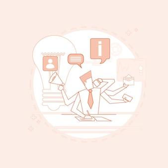 Homem de negócios de gerente de multitarefa ocupado