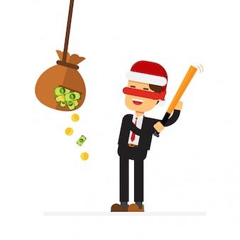 Homem de negócios de natal com taco de beisebol bate saco com dinheiro