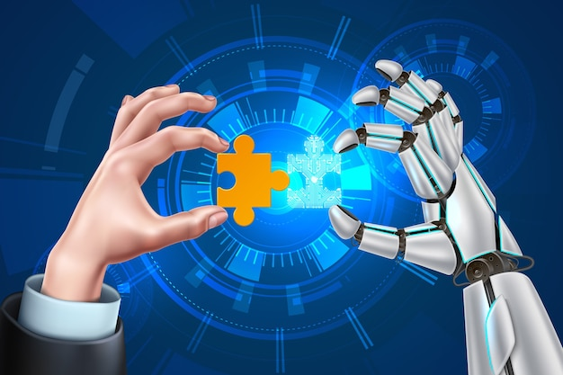 Homem de negócios de robô vetorial com quebra-cabeça