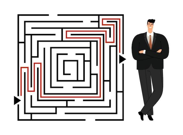 Homem de negócios de sucesso que atravessa o labirinto