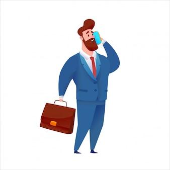 Homem de negócios de terno falando telefone segurando a mala.