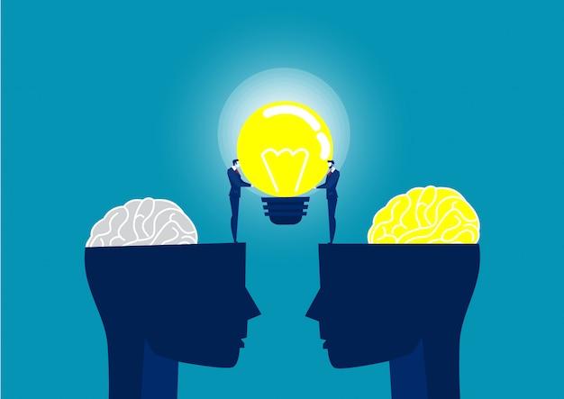 Homem de negócios de terno segurando uma lâmpada na cabeça humana compartilhar ilustração da idéia