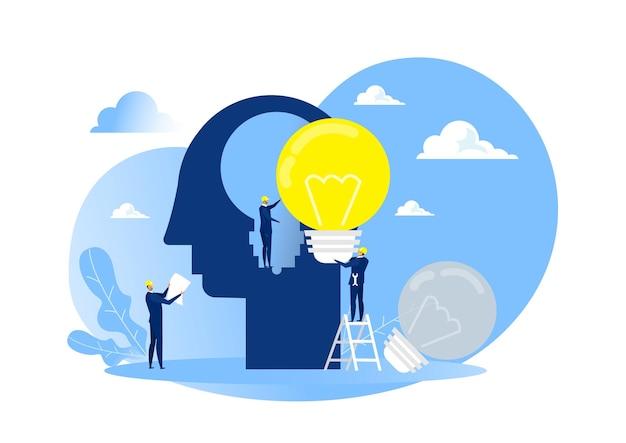 Homem de negócios de terno segurando uma lâmpada na cabeça, ideia de chang humano
