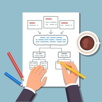 Homem de negócios desenhando um plano de diagrama de blocos