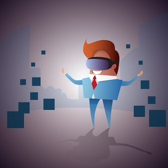 Homem de negócios desgaste virtual reality digital glasses