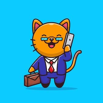 Homem de negócios do gato com ilustração do ícone do telefone. conceito de ícone de profissão animal.
