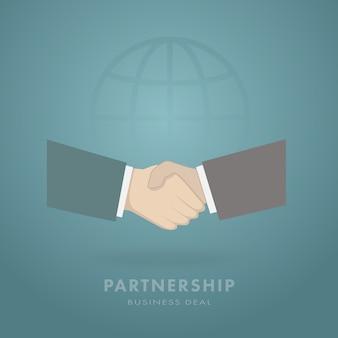 Homem de negócios dois que agita as mãos no fundo global.