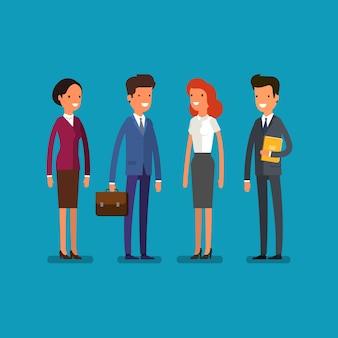 Homem de negócios dos desenhos animados e mulher em poses eretas. trabalhadores de escritório, vista frontal. design plano, ilustração vetorial.