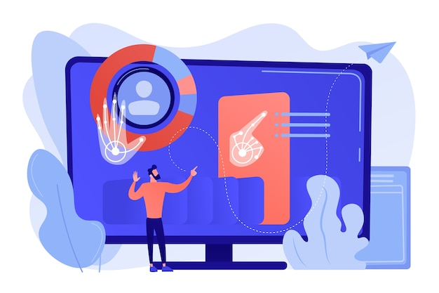 Homem de negócios e computador reconhecendo e interpretando gestos humanos como comandos. reconhecimento de gestos, comandos de gestos, conceito de controle mãos-livres Vetor grátis