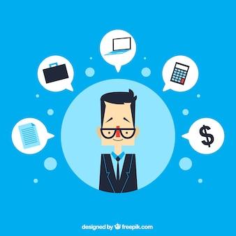 Homem de negócios e de negócios ícones