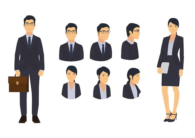 Homem de negócios e escritório mulher conjunto de ícones